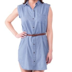 Cherokee sleeveless shirt dress with belt